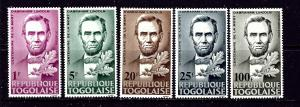 Togo 521-24 and C45 MNH 1965 Abraham Lincoln