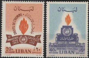 Lebanon C402-C403 (mvlh) Human Rights (1964)