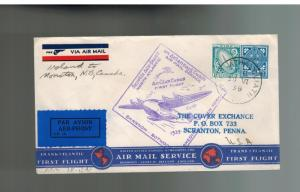 1939 Baile Ireland Roessler airmail FFC First Flight Cover to Moncton Canada