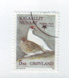 Greenland Sc 182 1987 5 kr bird stamp used