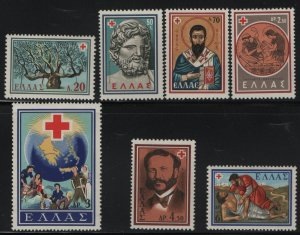 GREECE, 657-663, SET(7), HINGED, 1959, CENT. OF THE RED CROSS IDEA