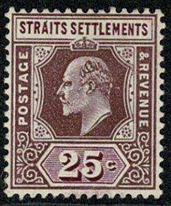 S. SETTLEMENTS KE VII 1906-12 25c Du & Br PURPLE UNUSED SG161 Wmk.MCCA P.14 VGC