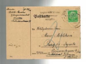 1940 Dresden Germany PC Cover Gestapo Prisoner Czech General Miroslav Miklik