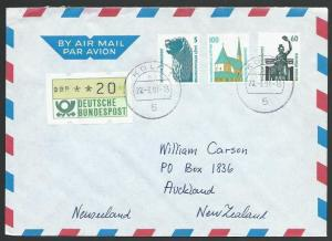 GERMANY 1991 airmail cover to New Zealand - nice franking..................11241