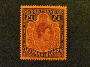 Leeward Islands #115c mint hinged black and brown-purple on salmon c203 470