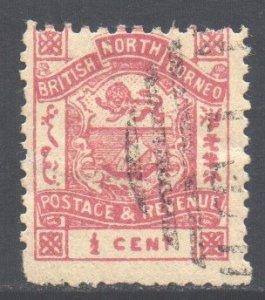 North Borneo Scott 35 - SG36 1888 Postage & Revenue 1/2c used cto