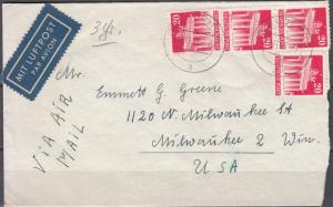 Germany - 2.11.1949 20pf Bauten Buildings as MeF on cover to USA (2186)
