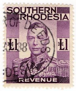 (I.B) Southern Rhodesia Revenue : Duty Stamp £1