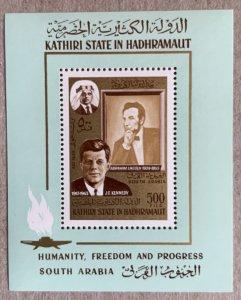 Aden Kathiri 1967 JFK Kennedy + Lincoln MS, MNH. Michel BL 14A, CV €12.00
