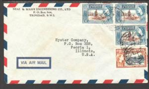 Trinidad and Tobago to Peoria IL 1955 Airmail Cover