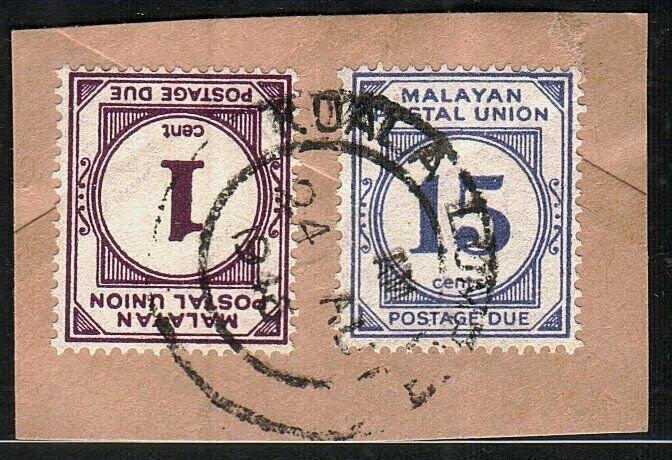 MALAYA POSTAL UNION 1945 1c & 15c Postage dues used on piece ex KL.........10533