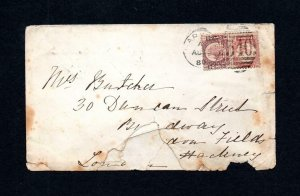 1/2d PLATE 11 (?) WITH 'H?E?' PERFIN + 1/2d PLATE ? (NON-PERFIN) USED ON COVER