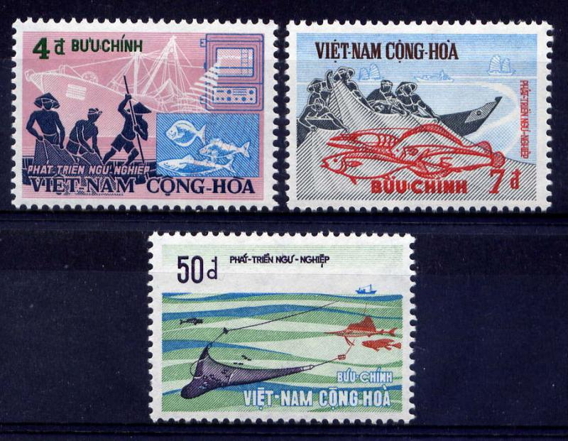 VIETNAM, SOUTH Sc#408-10 1972 Commercial Fishing MNH
