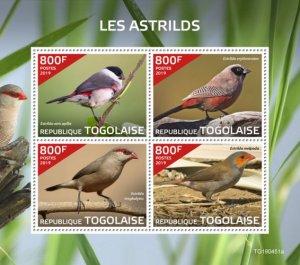 Stamps of Togo 2019. - Waxbills (Estrilda atricapilla; Estrilda erythronotos; Es