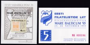 Estonia 1993 Sheet ovrpt. for Mare Balticum '93 Expo+ Entry Ticket  VF/NH(**)