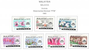 Malaysia Malacca Scott 67-73 MH* Orchid stamp sset
