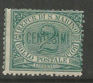SAN MARINO  1  HINGED,  NUMERAL, 1877 ISSUE