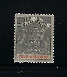 RHODESIA SCOTT #13 1890-95 COAT OF ARMS 4SH (GREY/VERMILION) - MINT  HINGED