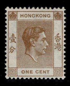 HONG KONG GVI SG140a, 1c pale brown, LH MINT.