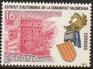 SPAIN 2345, VALENCIA AUTONOMOUS STATUTE. MINT, NH. F-VF. (165)