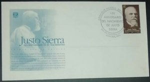 A) 1998, MEXICO, FOUNDER OF THE NATIONAL UNIVERSITY, FDC, JUSTO SIERRA BIRTH ANN