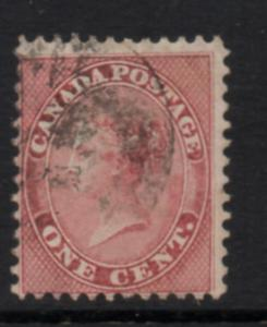 Canada Sc 14 1859 1 c rose Victoria stamp used