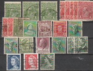Australia Used lot Goerge V,George VI, QEII