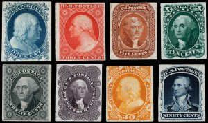 U.S. #40P3-47P3 Complete Immaculate Set of Plate Proofs on India Paper F-VF