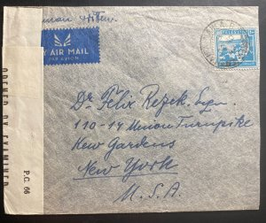 1942 Haifa Palestine Airmail Censored Cover To New York USA