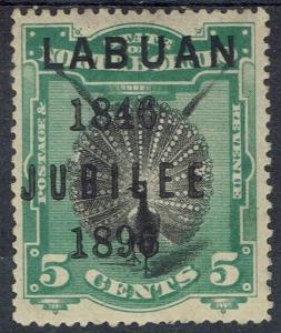 LABUAN 1896 JUBILEE OVERPRINTED BIRD 5C PERF 14.5 - 15