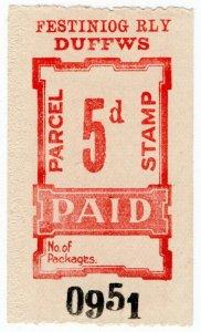 (I.B) Festiniog Railway : Parcel Stamp 5d (Duffws)