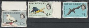 BRITISH HONDURAS 1962 QEII BIRDS 25C 50C AND $1 MNH **