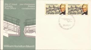 1974 Canada - (O) FDC - Sc 655 -pair- William Hamilton Merritt & Welland Canal