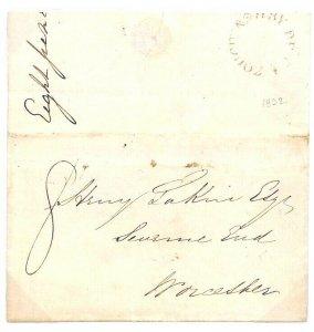 GB Cover Leics *ASHBY-DE-LA-ZOUCH* Undated Circle Fine EL Worcester 1832 BD98