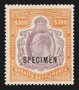 STRAITS SETTLEMENTS : 1906 KEVII $500 SPECIMEN. normal cat £170,000. CERTIFICATE