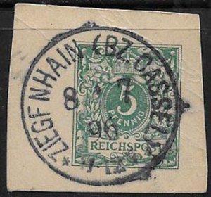 Germany, SC 47, cut square, 1896 Ziegfnhain / Cassel cancel