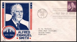 US 937 Alfred E Smith Smartcraft Typed FDC