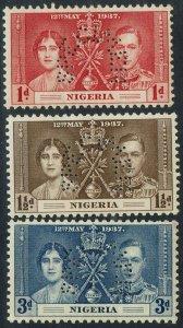 NIGERIA 1937 KGVI CORONATION SPECIMEN SET
