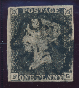 Great Britain Stamp Scott #1, Used Four Margins, Black Maltese Cross Penny Bl...