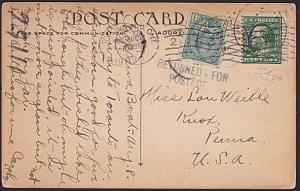 CANADA 1917 postcard failed use USA 1c returned for postage & Canada 1c added...