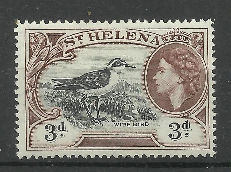 St. Helena 1953 Sg 158, 3d Black & Brown Lightly Mounted Mint [1802]