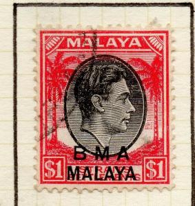 Malaya Straights Settlements 1945 Early Shade of Used $1. BMA Optd 307967