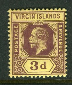BRITISH VIRGIN ISL; 1912 early GV issue fine Mint hinged 3d. value