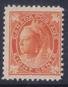 Canada 72 Mint OG 1897 8c Orange Queen Victoria F-VF Scv $350.