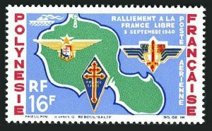 Fr Polynesia C31,lightly hinged.Mi 37. Map of Tahiti.French free Emblems.1964.