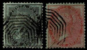 1855-64 India #9-10 QV Unwmk Blue Glazed Paper - Used - F/VF+ - $45.00 (E#3821)