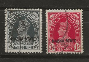 India Nabha 69, 72 Used VF 1938 SCV $3.75 (jr)