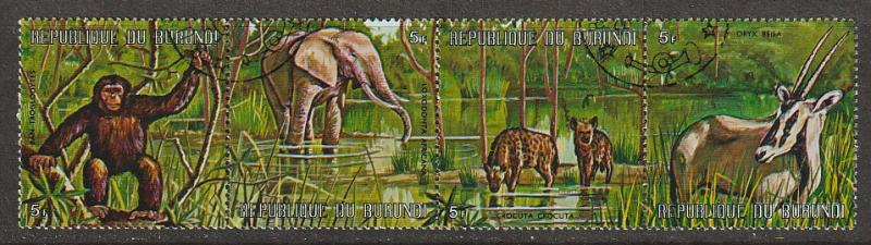 #358 Burundi Mint OGNH w/cancel strip of  4