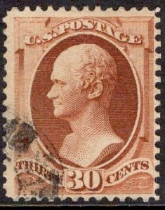 US Stamp #217 30c Orange Brown Hamilton USED SCV $90