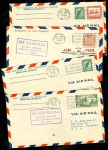 EDW1949SELL : NEW ZEALAND 4 nice First Flight Air Mail covers USA or Canton Isl